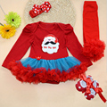 4PCs per Set Baby Girl New Year Outfit Tutu Dress Infant 1st Christmas Party Outfit Leg Warmers Shoes Headband