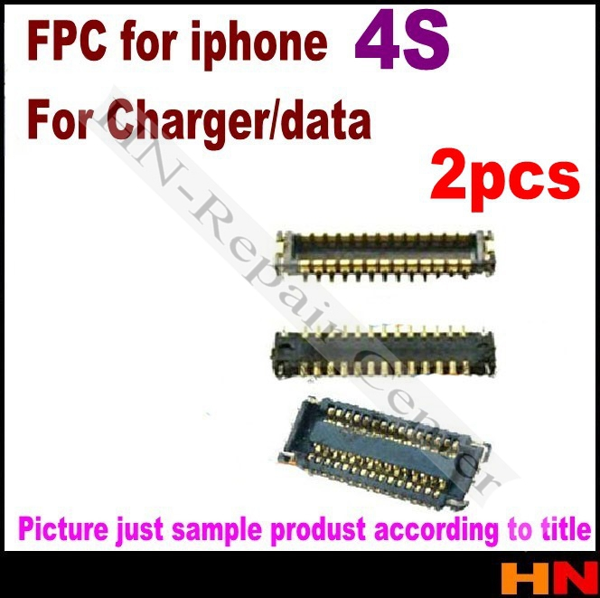 2pcs For iPhone 4GS 4S Charger & data Connector FPC Motherboard Connector, dock flex Mobile Phone Flex Cables