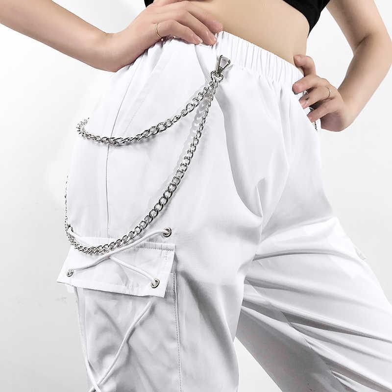 Weekeep/белые брюки-карго с высокой талией; женские белые брюки с металлической цепочкой в стиле пэчворк; женская уличная одежда; узкие брюки для бега