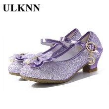 ULKNN Glitter Children Girls High heel Shoes For Kids Princess Sandals Bowtie Knot infant Baby Party and Wedding