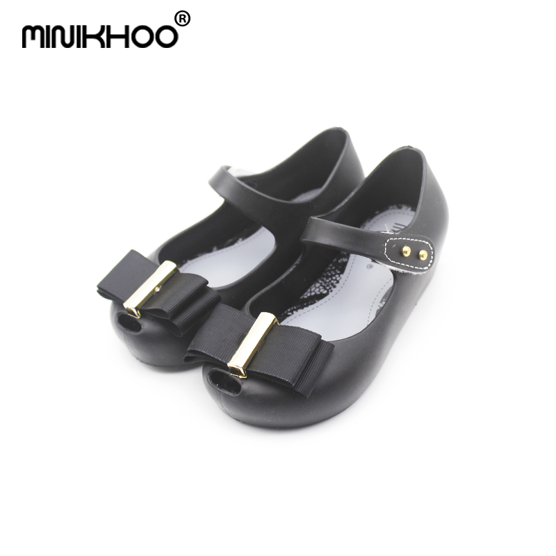 Mini Melissa Brazil Metal Cloth Bow Girls Jelly Sandals 2018 Summer Baby Jelly Sandals Melissa Kids Sandals Melissa Jelly Shoes