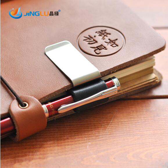 1 Pcs Metal Pen Holder Brass Pen Clip For Vintage Genuine Leather Traveler Notebook Cowhide Diary Spiral Loose Leaf