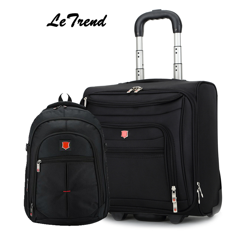 купить Letrend Fashion Business Oxford Rolling Luggage Casters Trolley Bag 18 inch Carry On Luggage Wheels Suitcases Travel Bag Men по цене 6175.27 рублей