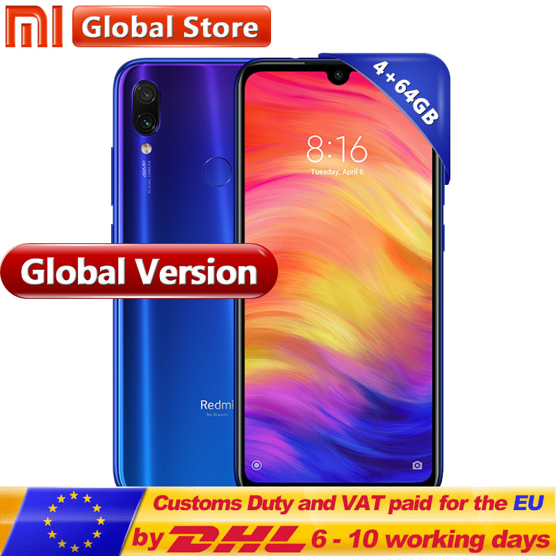 "Global Version Xiaomi Redmi Note 7 64GB ROM 4GB RAM Mobilephone Snapdragon 660 Octa Core 4000mAh 6.3"" 13MP+48MP Dual Camera(China)"