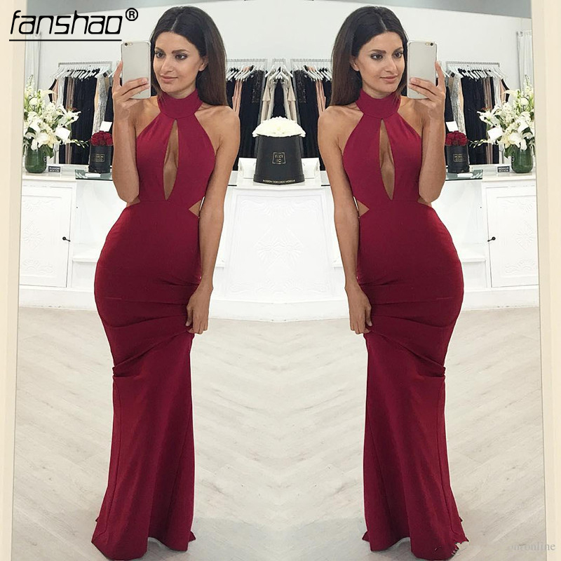 Burgundy 2019 Prom Dresses Simple Sheath Halter Plus Size Sexy Party Maxys Long Prom Gown Evening Dresses Robe De Soiree
