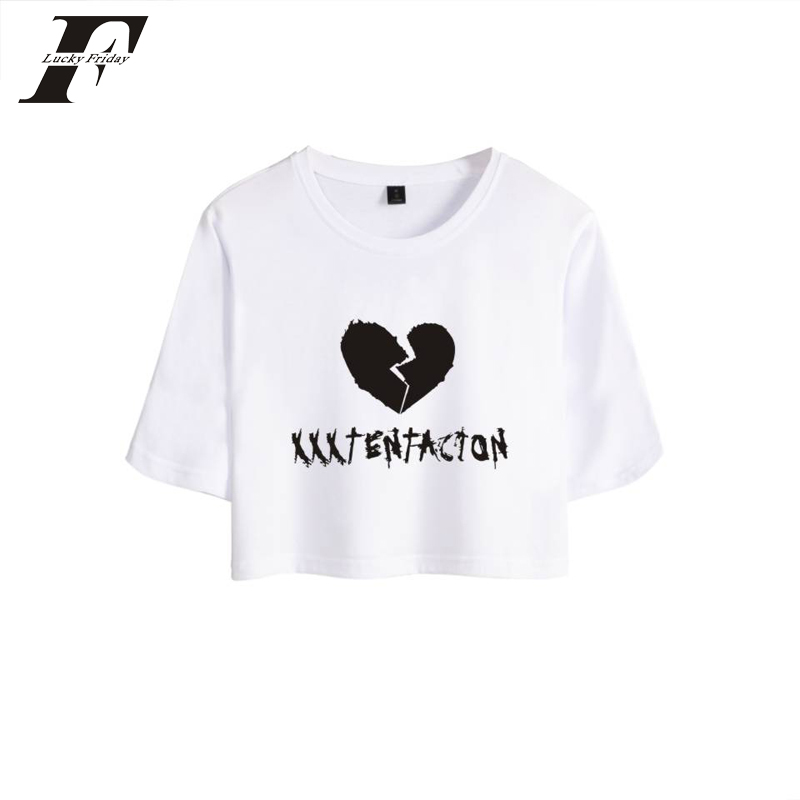 2018 Hip-hop Rapper Xxxtentacion Crop Top T-shirt Summer Cotton Sexy Short-sleeve T-shirt Fashion Outer O-line Plus Size