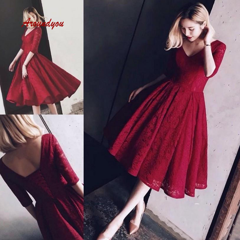Burgundy Knee Length Lace   Prom     Dress   Plus Size Sexy Women with Sleeves Formal Evening   Dresses   Gowns