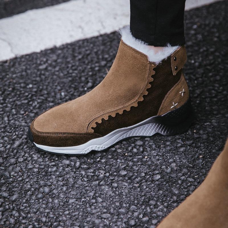 Invierno Nieve marrón 42 Tobillo Zapatos Mujer 40 Ocasionales Señoras 41 Negro Cuero Tamaño Caliente Vaca 2018 Nuevas Botas De txq4Bv4