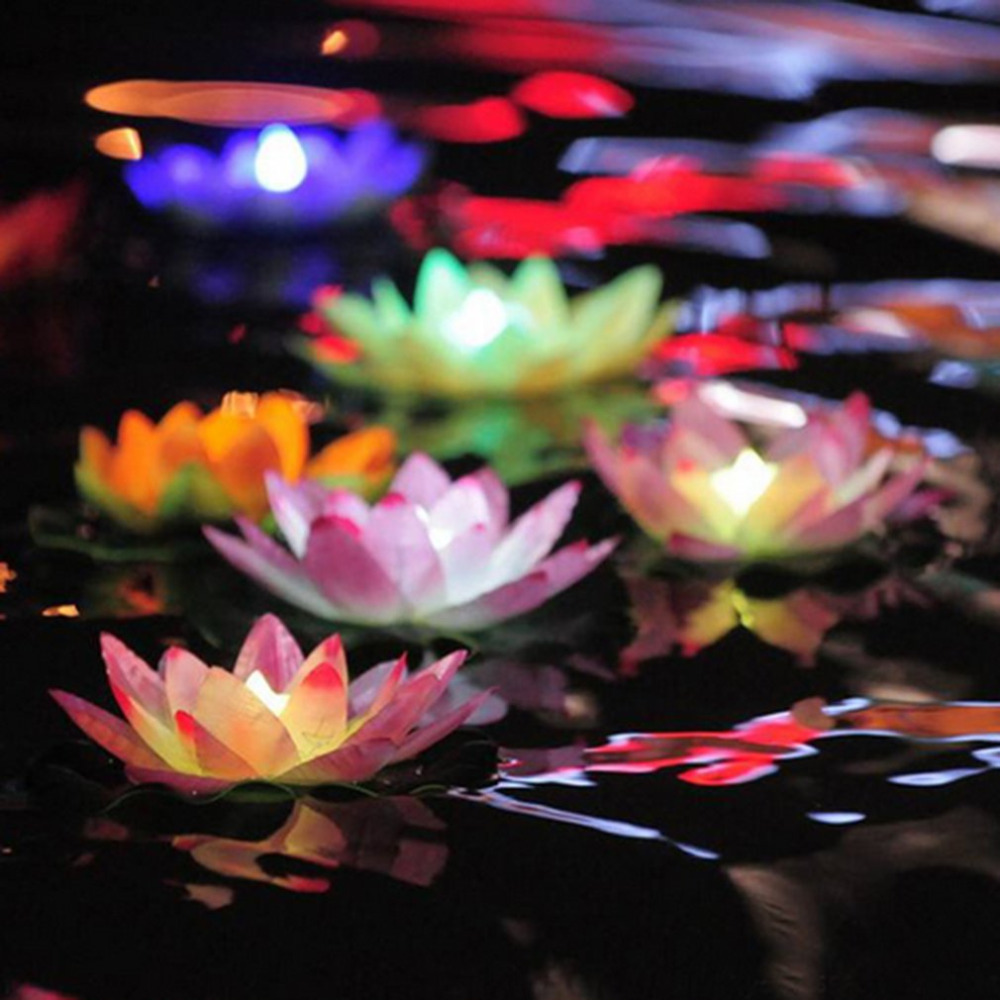 LED flood light Artificial Lotus Colorful Changed Floating Flower Lamps Water Swimming Pool Wishing Light Lanterns Party Supply in LED Underwater Lights from Lights Lighting