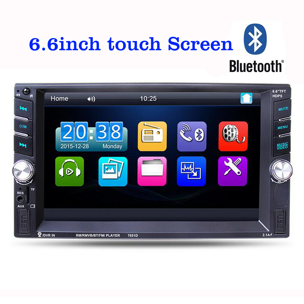 6.6 inch Car MP3 MP5 FM Player Auto Audio Stereo TFT Touch screen 2 Din in Dash Bluetooth Stereo Radio with USB AUX IN 12v bluetooth stereo car radio audio player in dash fm aux input receiver sd usb mp3 mmc 2 x 6 inch auto coaxial loud speaker