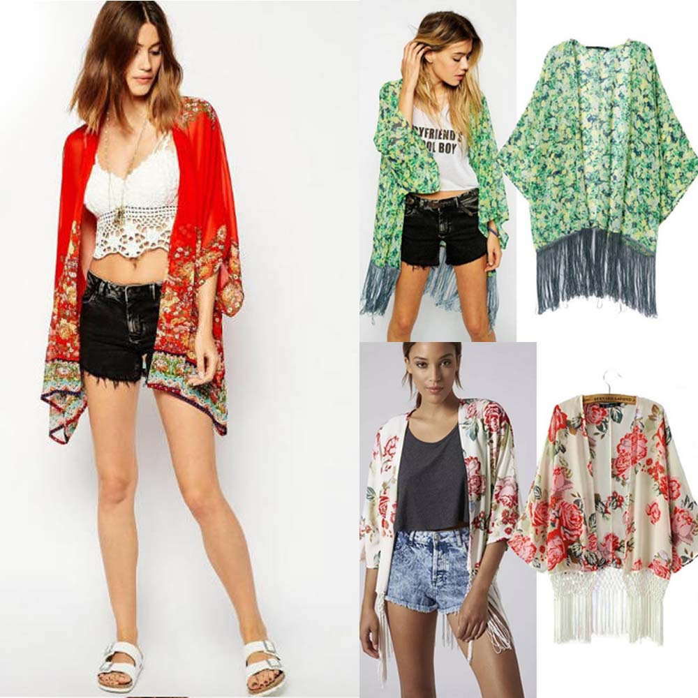 Woman Kimono Cardigan Blouse Chiffon Casual Shirt Black Floral ...