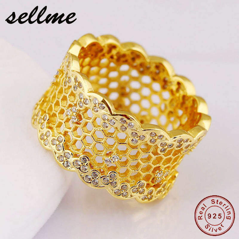 Original 100% 925 Sterling Silver Ring Honeycomb Lace Vintage Rings Shine Gold CZ Bee Wedding Band Anillos Women Jewerlry hot sale new collection good quality luxuxious shine 925 real silver honeycomb lace ring