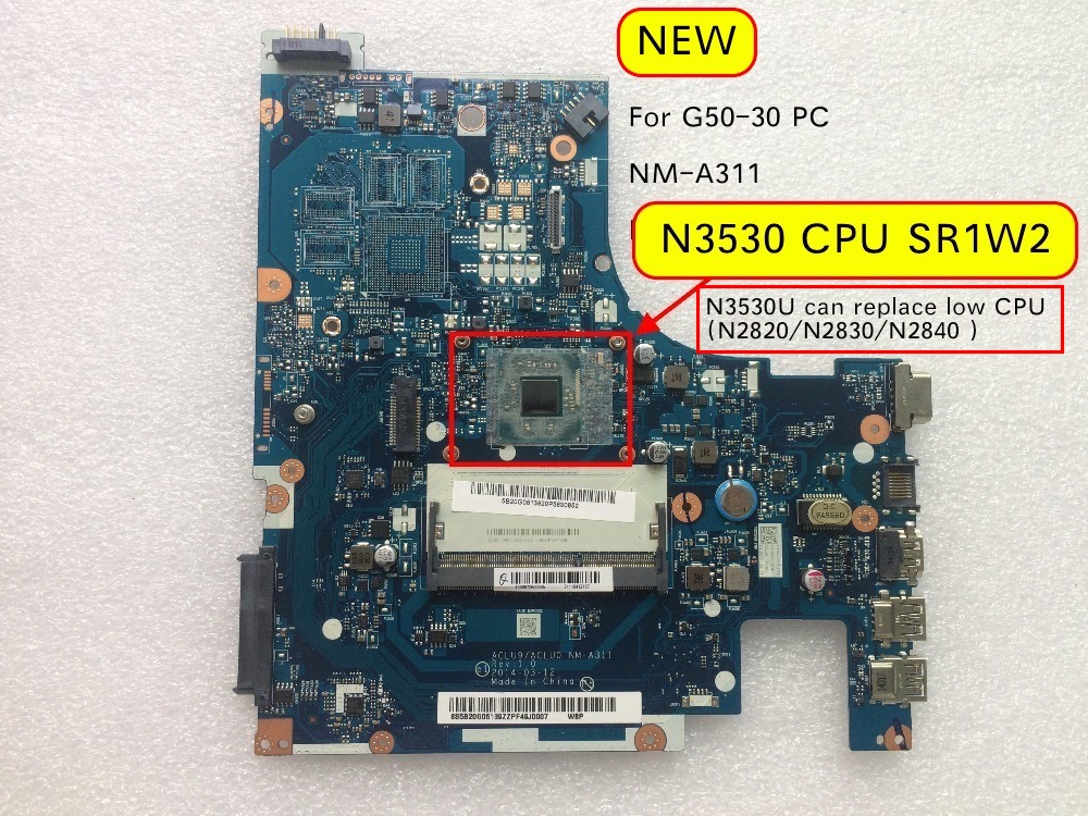 Free Shipping Tested For Lenovo G50-30 ACLU9 ACLU0 NM-A311 Laptop Motherboard