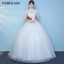VAMOLASC Elegant High Neck Lace Appliques Ball Gown Wedding Dresses Short Cap Sleeve Backless Bridal Gowns