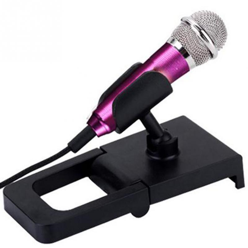 4color Portable 3.5mm Stereo Studio Mic KTV Karaoke Mini Microphone For Cell Phone  Laptop PC Desktop 5.5cm*1.8cm Small Size Mic