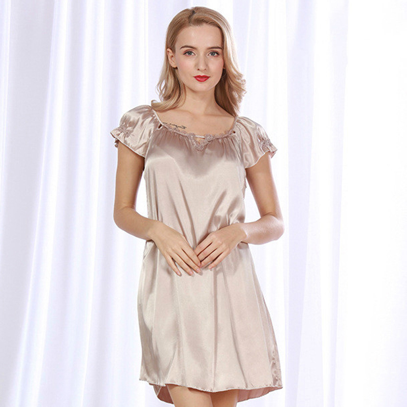 Silk Dressing Gowns Ladies: Nightdress 2018 Lace Women Faux Silk Nightgowns Summer