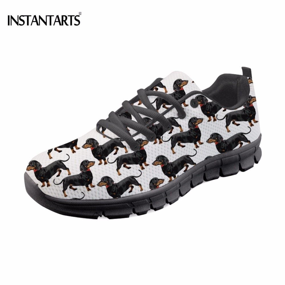 INSTANTARTS Cute 3D Animal Dachshund/Nurse Bear Print Lace-up Sneaker for Teen Girl Breathable Mesh Flat Shoes Women Flat Loafer instantarts pink sneakers women casual flats cute cartoon pediatrics bear doctor nurse pattern lady air mesh laces up flat shoes