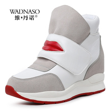 купить Wedges Women Boots Winter Height Increasing Casual Shoes High Top Women Ankle Boots Hide Heels Sexy Red Lips Ladies Shoes XZ43 онлайн
