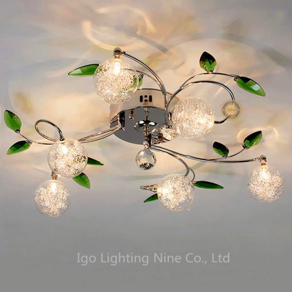 Modern Green Leaves Crystal Ball Ceiling Light Aluminium Wire Lamp For Study Bedroom Living Room