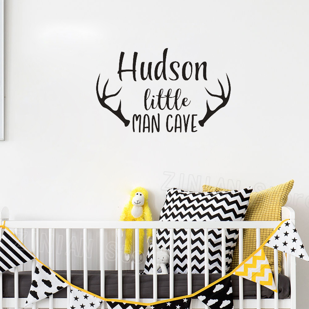 Personalized Name Wall Decal Baby Boys Nursery Decor Man Cave Wall Stickers for Kids Rooms Deer Antlers Art Mural Wallpaper Z438