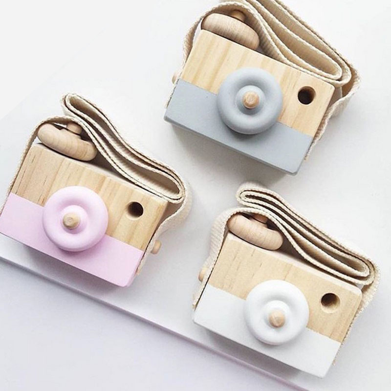 Vintage Wooden Camera Decoration Toy Baby Kids Hanging Camera Photography Prop Children Educational Toy Christmas Gifts