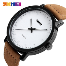 SKMEI Fashion Simple Watches Men Luxury Genuine Leather Strap Quartz Wristwatches 30M Waterproof Watch 1196 sekaro 2806 switzerland watches men luxury brand 2018 new genuine quartz watch men s fashion trend waterproof casual simple