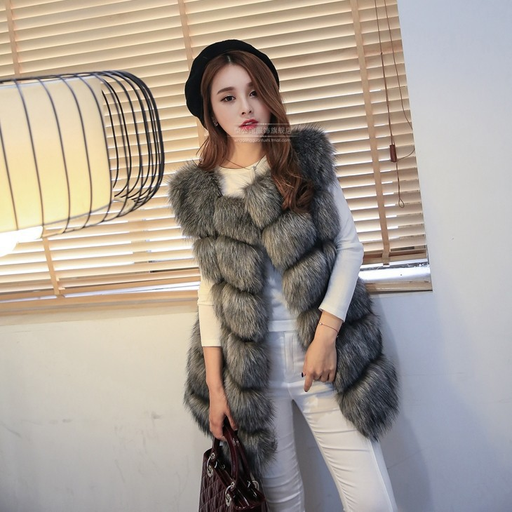 Newest Winter Warm Fashion Women Import Coat Fur Vest High-Grade Faux Fur Coat Fox Fur Long Vest Plus Size: S-XXXXL