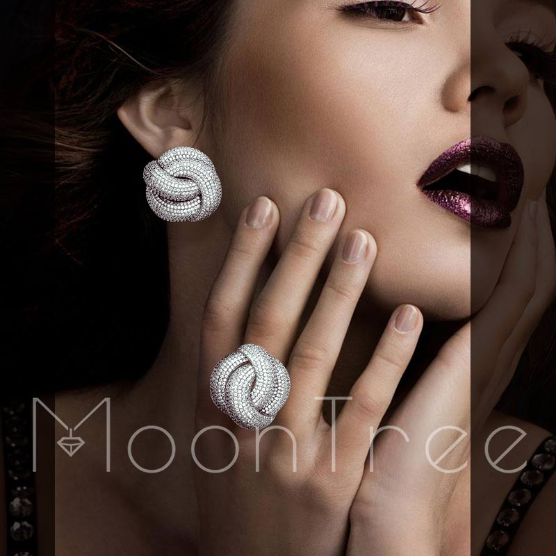MoonTree Luxury Cubic Zirconia Wedding Earring And Ring Set for Women Bridal Engagement Wedding Fashion Jewelry
