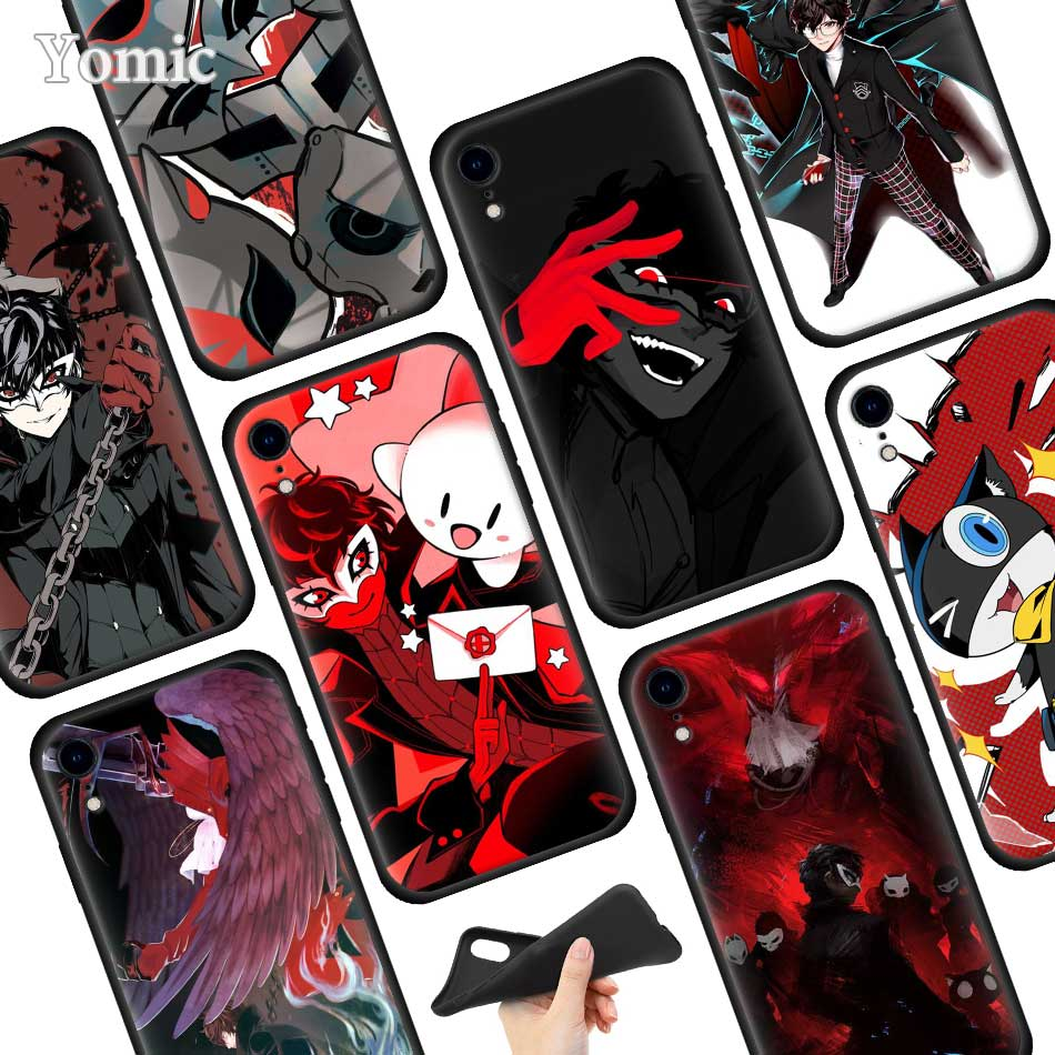Persona 5 P5 Game Black Soft Case for Apple iPhone XR 7 8 6 6S Plus X XS MAX 5 5E 5S Silicone Phone Case Cover image