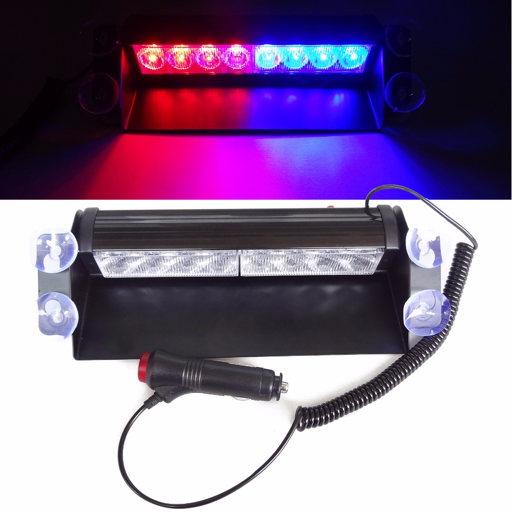 8 LED Red/Blue Car Police Strobe Flash Light Emergency Warning 3 flash light Car styling Light Lamp