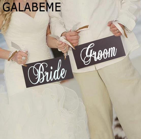 Galabeme 1set Wooden Wedding Signs Groom & Bride Photo Props Hanging Wedding Chair Signs Decor rustic wedding decoration