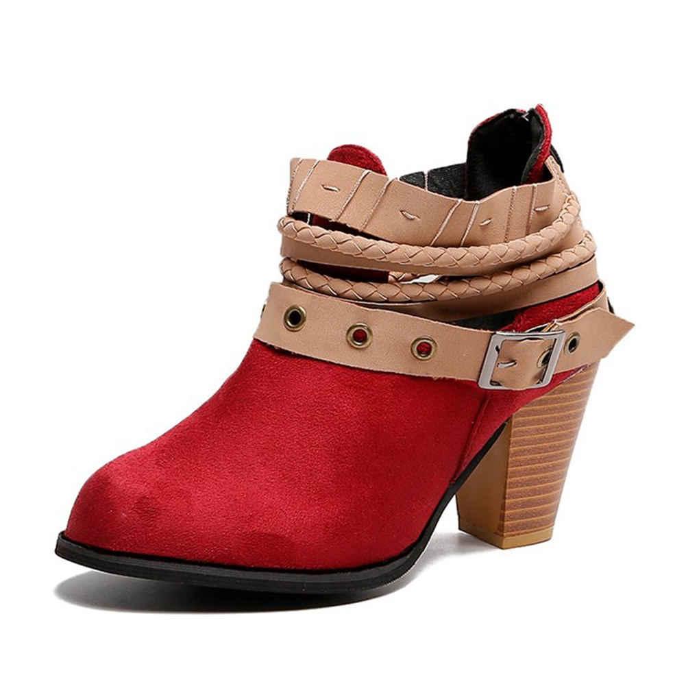 Marka Büyük Boy 35-43 serin akın kemer tokası moda yüksek topuklu Kadın Ayakkabı Kadın eğlence Sonbahar yarım çizmeler kadın patik