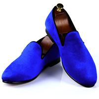 Harpelunde Men Casual Shoes Blue Velvet Loafers British Smoking Slippers Size 7 14