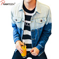 Phanteen Plus Size Man Denim Jackets Vintage Washed Letter Print Coats Casual Spring Autumn Outerwear Fashion Men Brand Clothing