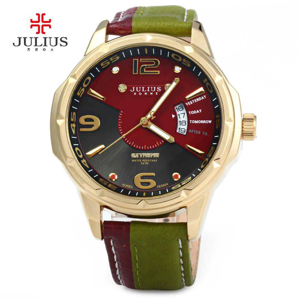 Prix pour Julius Marque Calendrier Gentleman bracelet En Cuir Homme Mode Quartz Casual Montres Robe Corée Dames Montre-Bracelet MONTRE-BRACELET Relogio