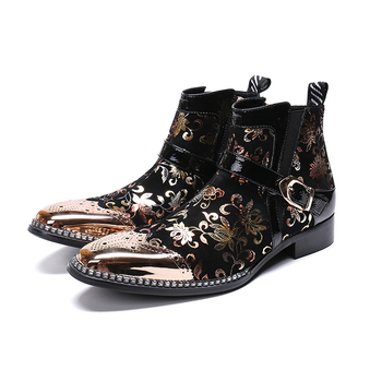 Genuine Leather zip Buckle ankle boots fashion rivet flowers Bullock carved dress shoes pointed toe Martin boots big size 46