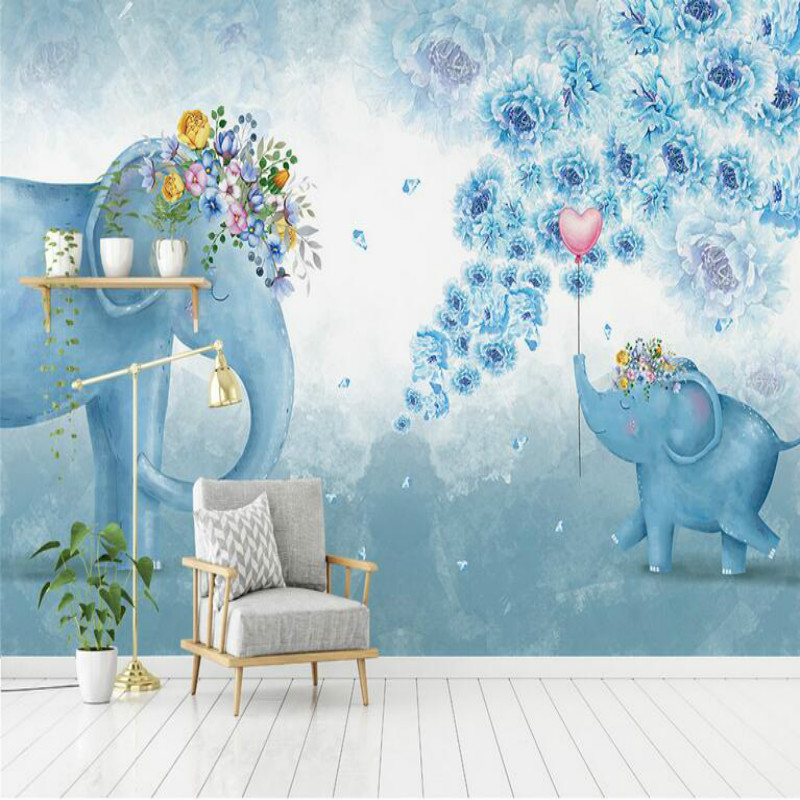 Home Improvement 3d Wall Paper Rolls Waterproof Silk Wallpaper for Children Bedroom Living Room Hand-painted Elephant Flower hand painted silk wallpaper painting lotus with birds hand painted wall paper wallcovering many pictures backgrounds optional