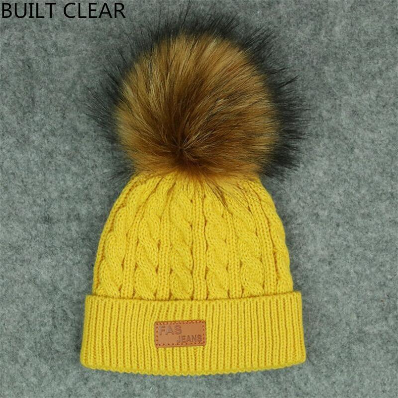 купить (BUILT CLEAR) beanie boy 2017Children Girl Hat Winter Hat Pom Cap Brand New Thick Baby Hat Baby Winter Cap Hot Hat Wool cap дешево