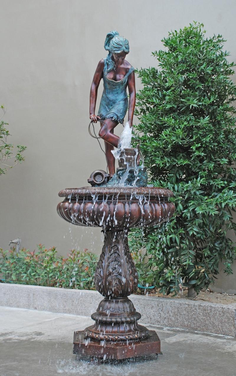 "98"" Europe Garden decorative sculptures Bronze fountain sculpture landscape statues Decoration ..."