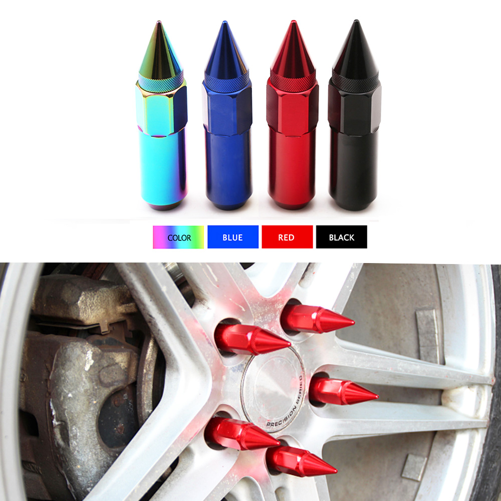 20pcs Car Modification Wheel Nuts m12*1.5 m12*1.25 Aluminum 60mm Extended Tuner Spike Lug Nuts JdmCar Accessories For Chevrolet