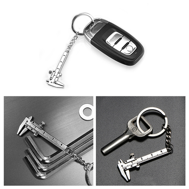 Zinc Alloy Pendant DIY Mobile Subsection Creative Mini Caliper Scale Model Keychain Key Chains Universal for Car