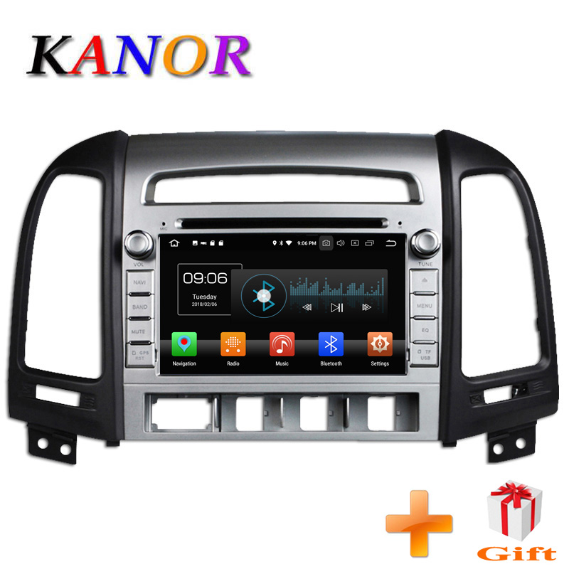 KANOR 1024*600 Octa Core 4g Android 8.0 2din Autoradio DVD GPS Pour Hyundai Santa Fe 2006 -2012 Headunit Radio Cessette enregistreur