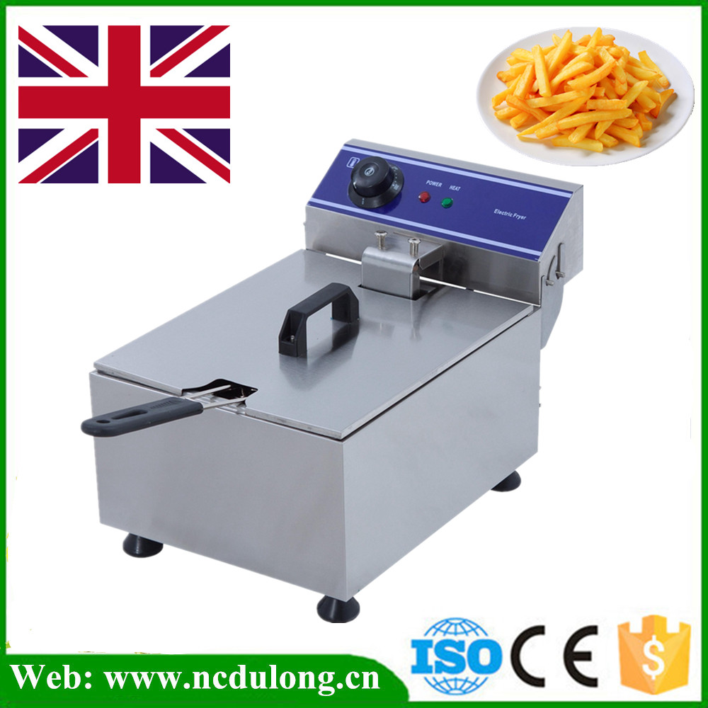 Stainless Steel Electric Deep Fat Potato Chip Fryer Deep Fryer Commercial Basket French Fry Machine universal fry griddle 25 black