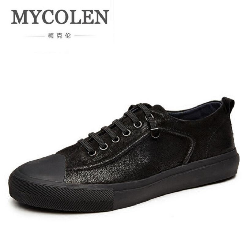 MYCOLEN Flats Shoes Top-Quality Genuine Leather Men Casual Shoes Fashion Breathable Male Shoes Real Leather Men Footwear spring autumn fashion men high top shoes genuine leather breathable casual shoes male loafers youth sneakers flats 3a