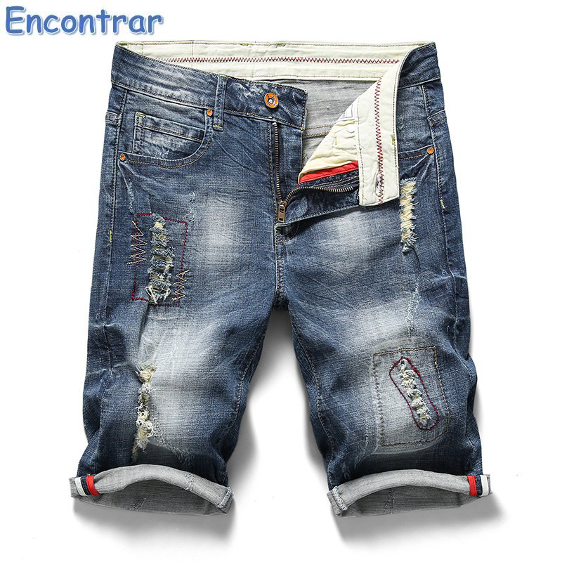 Encontrar New Fashion Mens Ripped Wave Jeans Short Brand Clothing - Ropa de hombre