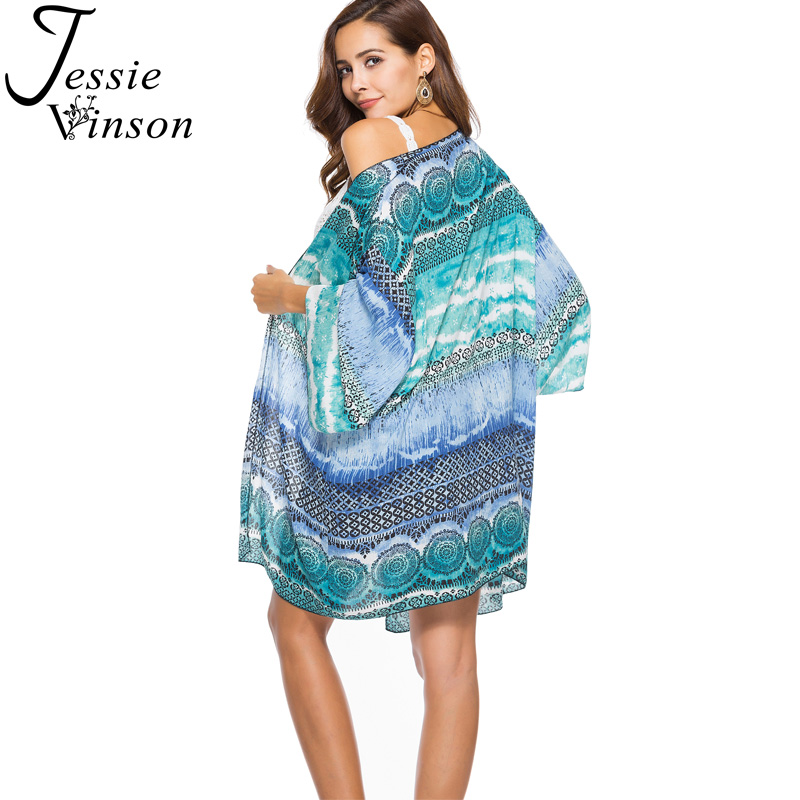 422c0164e94 Jessie Vinson Boho Print Long Kimono Cardigan Women Plus Size Bohemian  Style Beach Cover Up Loose