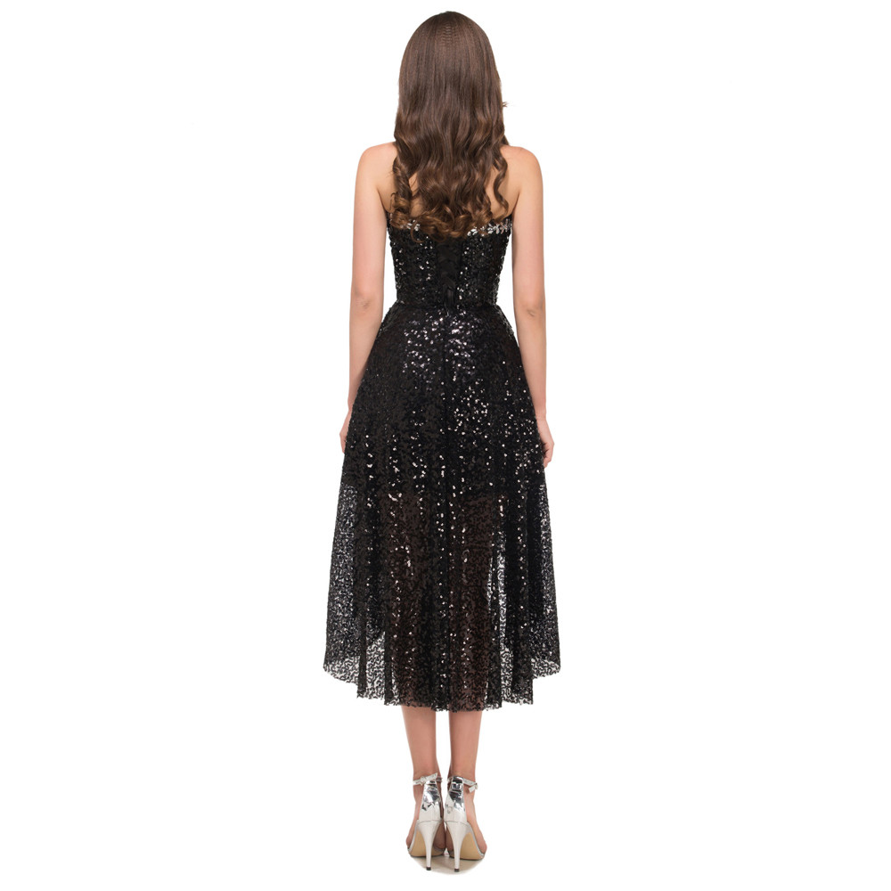 Grace Karin High Low Black Prom Dresses 2017 Short Front Long Back Evening Dress Vestidos de Festa Sequins Prom Dresses 8915 13