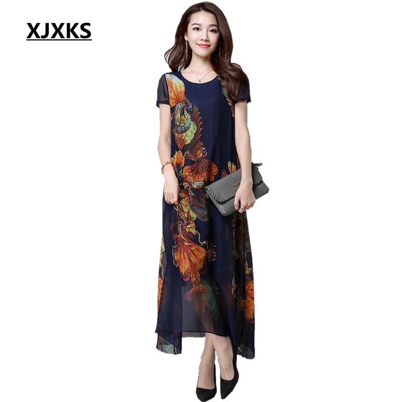 186e7eaf96fb XJXKS 2018 New Floral Print Plus Size Vestidos XL-4XL Women Casual Eleagnt Loose  Summer Chiffon Maxi Dresses 8188