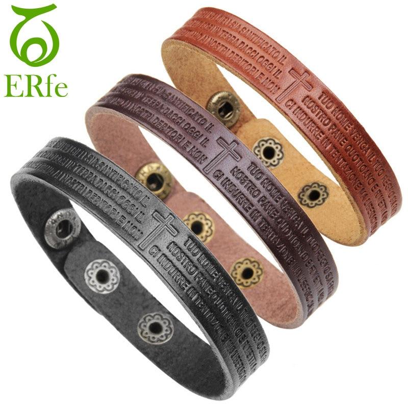 ER Vintage Bible Bracelet Men Leather Cross Bracelets Male Wristband Lords Prayer Braclet Homme Scripture Jewelry LB101