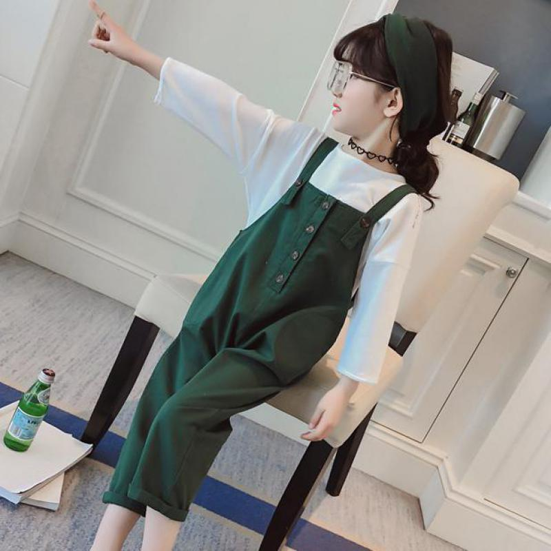 Tracksuit Girls Sports Suits Toddler Girl Clothing Sets 2018 Hot Spring Outfit Kids Clothes Costume T-shirt + Jumpsuits Overalls denimseason 2018 spring tracksuit girls sets girl overalls girls t shirt kids clothes children clothing kids overalls denim chic